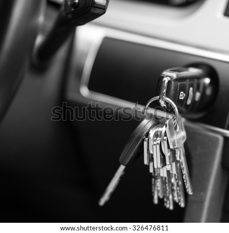 Car keys in black and white - stock photo