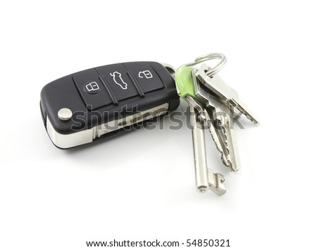Car Keys isolated on white - stock photo