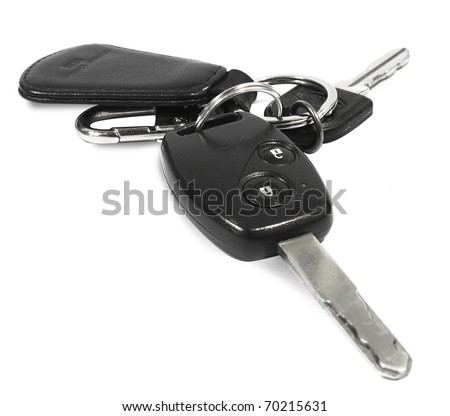 Car keys, objects isolated on white background - stock photo