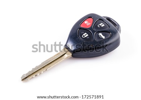 Car keys remote on isolated white background