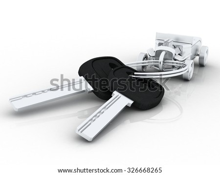 Car keys with car key ring isolated on white. Concept for owning or buying a new or pre-owned second hand car or car rentals, leasing a car or insuring your car. - stock photo