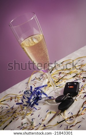 Car keys with champagne