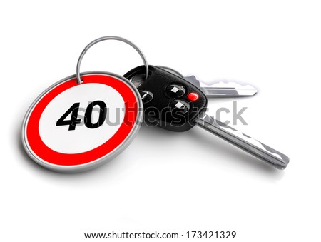 Car keys with keyring with speed limit of 40 - stock photo