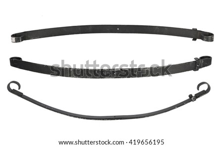 Car leaf spring isolated on white background. Brake cylinder repair kit - stock photo
