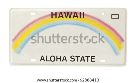 car license plate for state of Hawaii - stock photo