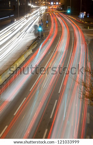 Car light trail on busy highways.