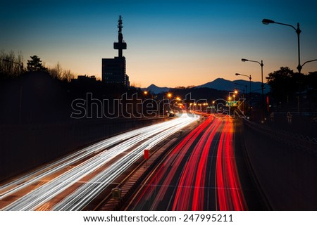Car light trails - stock photo