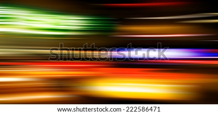 Car light trails speeding in Manhattan. Panning photography. Motion Blur abstract. Modern art, design, urban and lifestyle concept. - stock photo