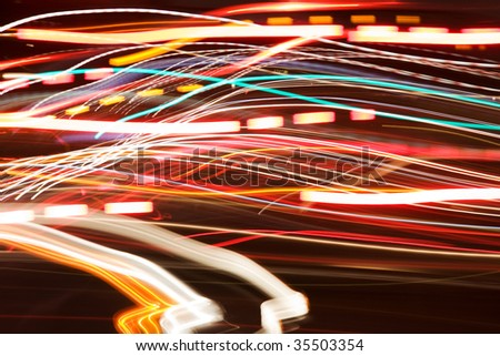 car lights at night abstract - stock photo