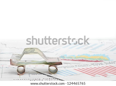 car made from dollar - stock photo