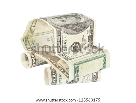 Car made of dollar banknotes isolated on white background - bank concept or buying car idea