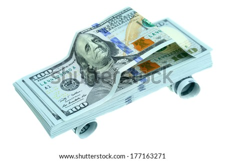 Car made of new hundred dollar bills - stock photo