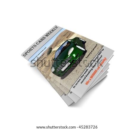 car magazine isolated on white background - stock photo