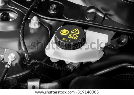 car maintenance, check the level of brake and clutch fluid - stock photo