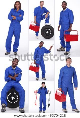Car mechanicians - stock photo