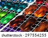 Car metallic paint samples, stand with examples of glowing colors coating for different vehicles, bronze, brown, orange, purple, green, blue, azure, red variations of transport bodywork surface  - stock photo