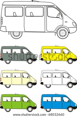 Car mini-bus. Different versions of color machines, isolated images, contour - stock photo