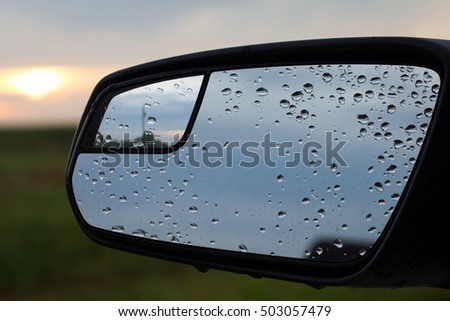 Car Mirror In Rain