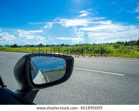 car mirror with beautiful way.