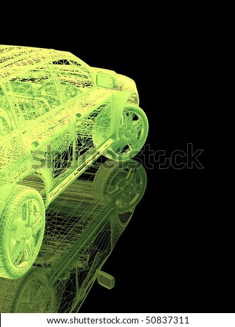 Car model on black background with reflection - stock photo