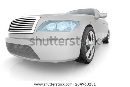 Car model on isolated white background, close-up view