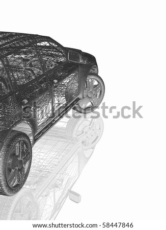 Car model on white, background with reflection