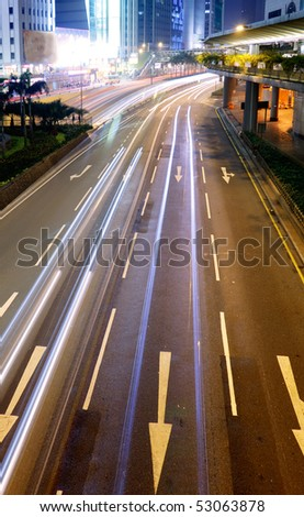 Car motion blurred line light in night. - stock photo