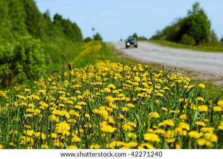 Car moving by road, focus on front of wayside - stock photo