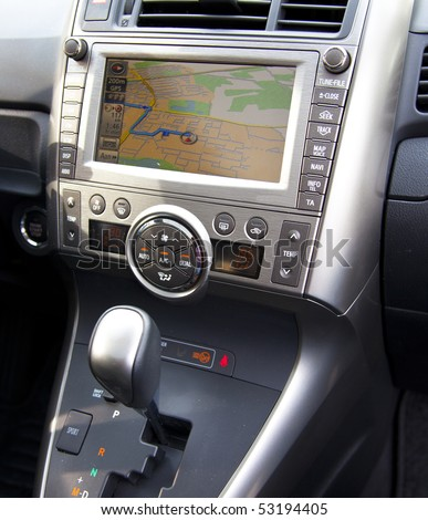 car navigation in detail with route - stock photo