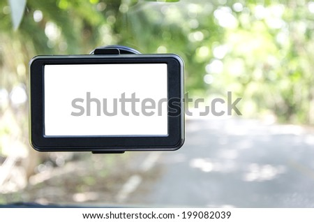 Car navigation with white screen - stock photo
