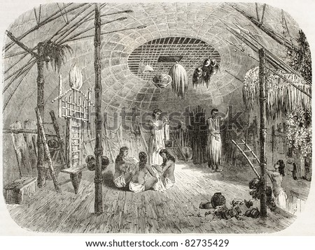 Car Nicobar island, indigenous hut interior, old illustration. Created by Therond after Steiger, published on Le Tour du Monde, Paris, 1860 - stock photo