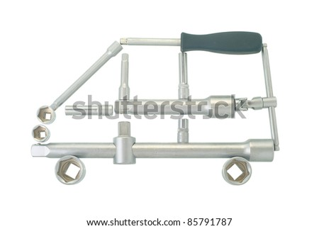 car of the tools on a white background - stock photo