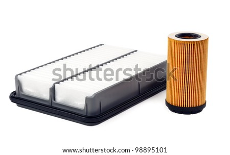 car oil filter and air isolated on white background - stock photo