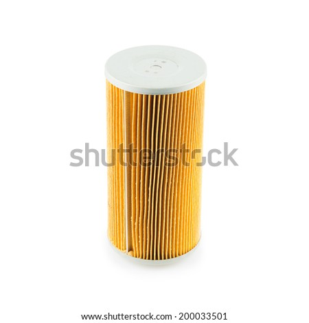 Car oil filter isolated on white background - stock photo