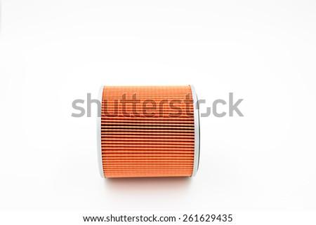 car oil filter on white background - stock photo