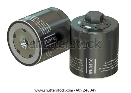 Car Oil filters, 3D rendering isolated on white background - stock photo