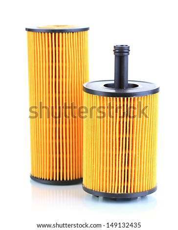 Car oil filters isolated on white
