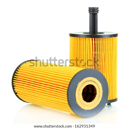 Car oil filters isolated on white - stock photo