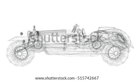 Car Old Model Body Structure Wire Stock Illustration 515742667 ...