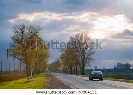 Car on a road - stock photo