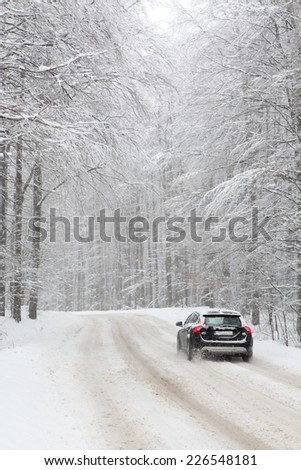 car on a snowy road