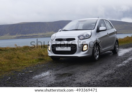 Car on dirt road in Iceland