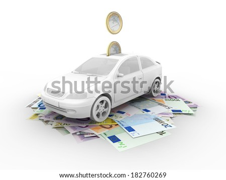 Car on euro bills and euro coins - stock photo
