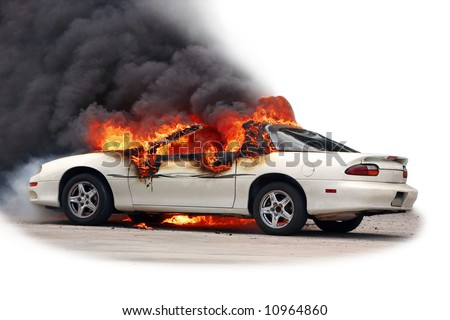 Car on fire, isolated [early stage of a fire]. - stock photo