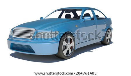 Car on isolated white background, side view