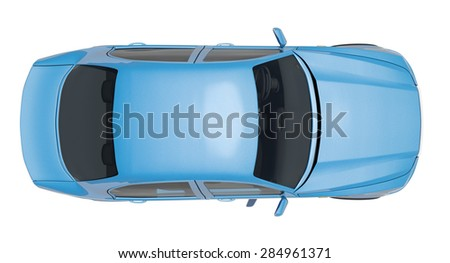 Car on isolated white background, top view - stock photo