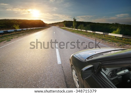 Car on road. Element of design. - stock photo