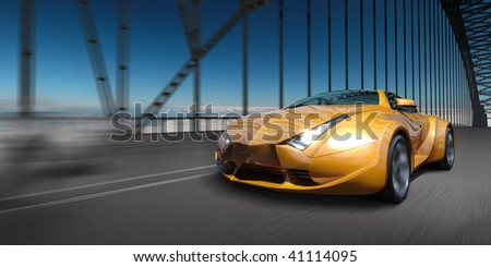 Car on the bridge.  My own car design.  Not associated with any brand. - stock photo