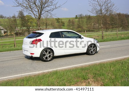 car on the road - stock photo