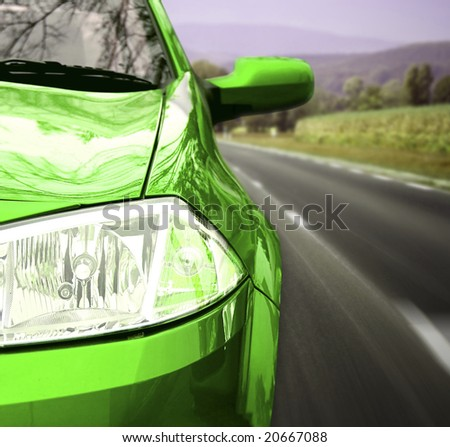 Car on the road view from the front. - stock photo